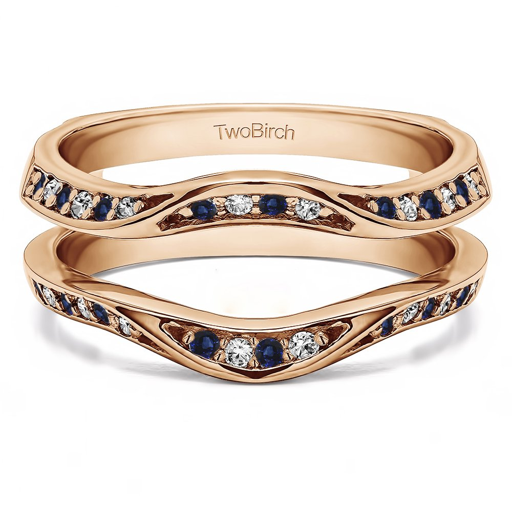 Fancy Classic Style Contour Ring Guard Enhancer Wedding Band with 0.44 cts of Diamonds and Sapphire in Silver by TwoBirch (Image #4)