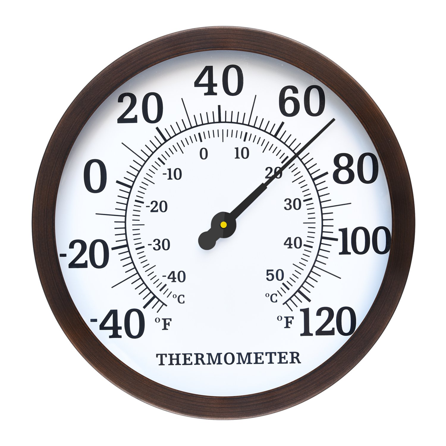 WiHoo 12'' Outdoor Thermometer Decorative, Indoor Outdoor Thermometer with Metal for Outside, Room or Patio Bronze
