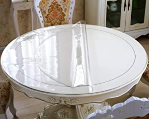 OstepDecor New Version Clear 30 Inches Round Table Cover, Plastic Round Table Protector, Round Table Pad, Heavy Duty Table Top Cover, Clear Table Cover Protector