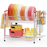 GSlife Stainless Steel 2 Tier Dish Rack with Tray Utensil Holder Deals