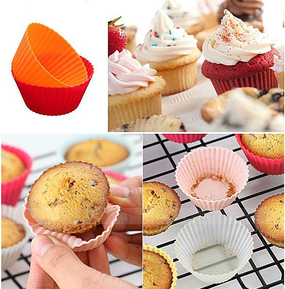 Silicone Baking Cups Cupcake Liners Muffin Moulds for Baking Gwolf Silicone Cupcake Cases Reusable Baking Cups 30pcs Silicone Cupcake Moulds Silicone Baking Cases