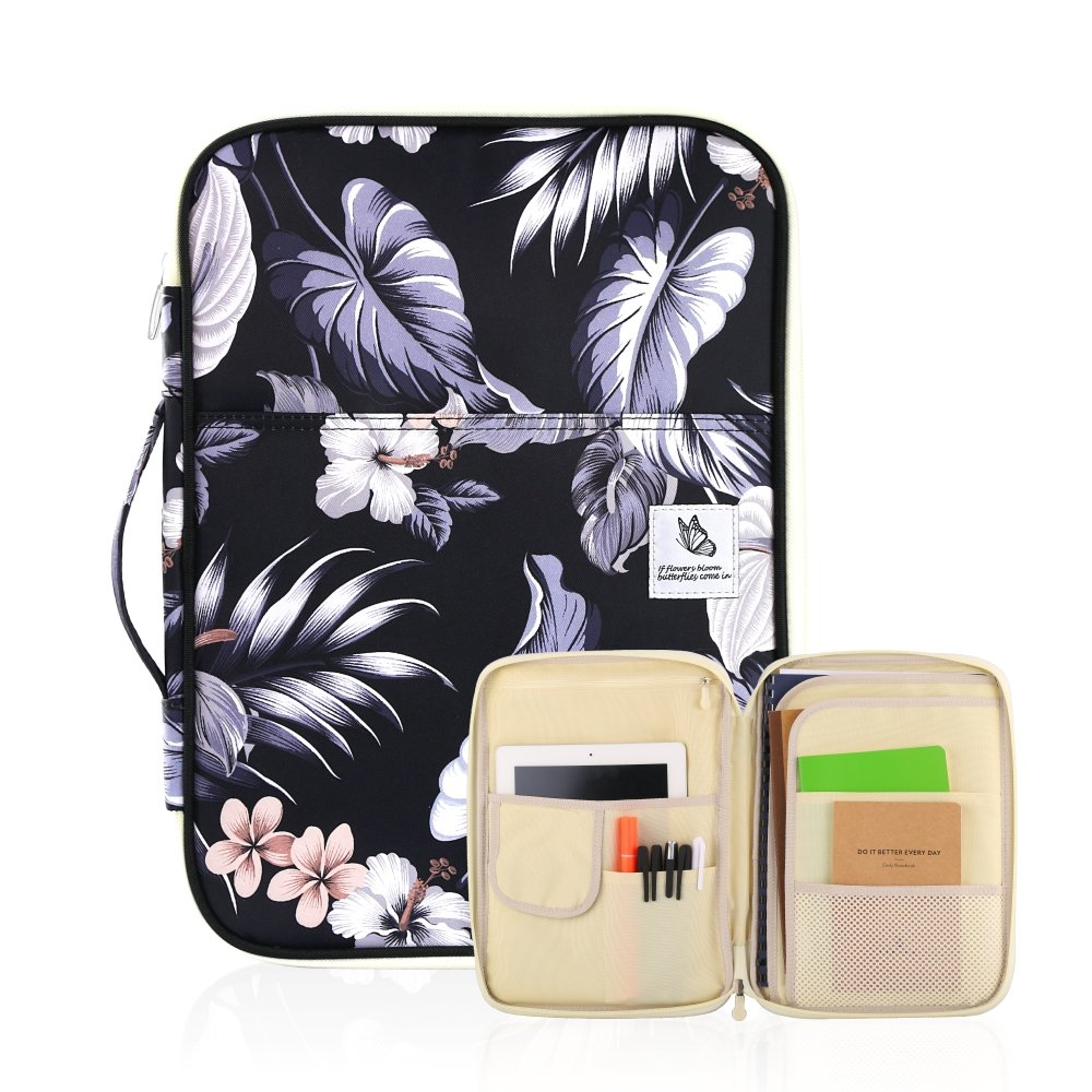 """WeiBonD Multi Functional Document Bag – A4 Size Portfolio Organizer Case Zippered Travel Pouch for Notebooks, Documents, iPads, 13"""" Laptops, and Other Small Gadgets (White Mulberry)"""