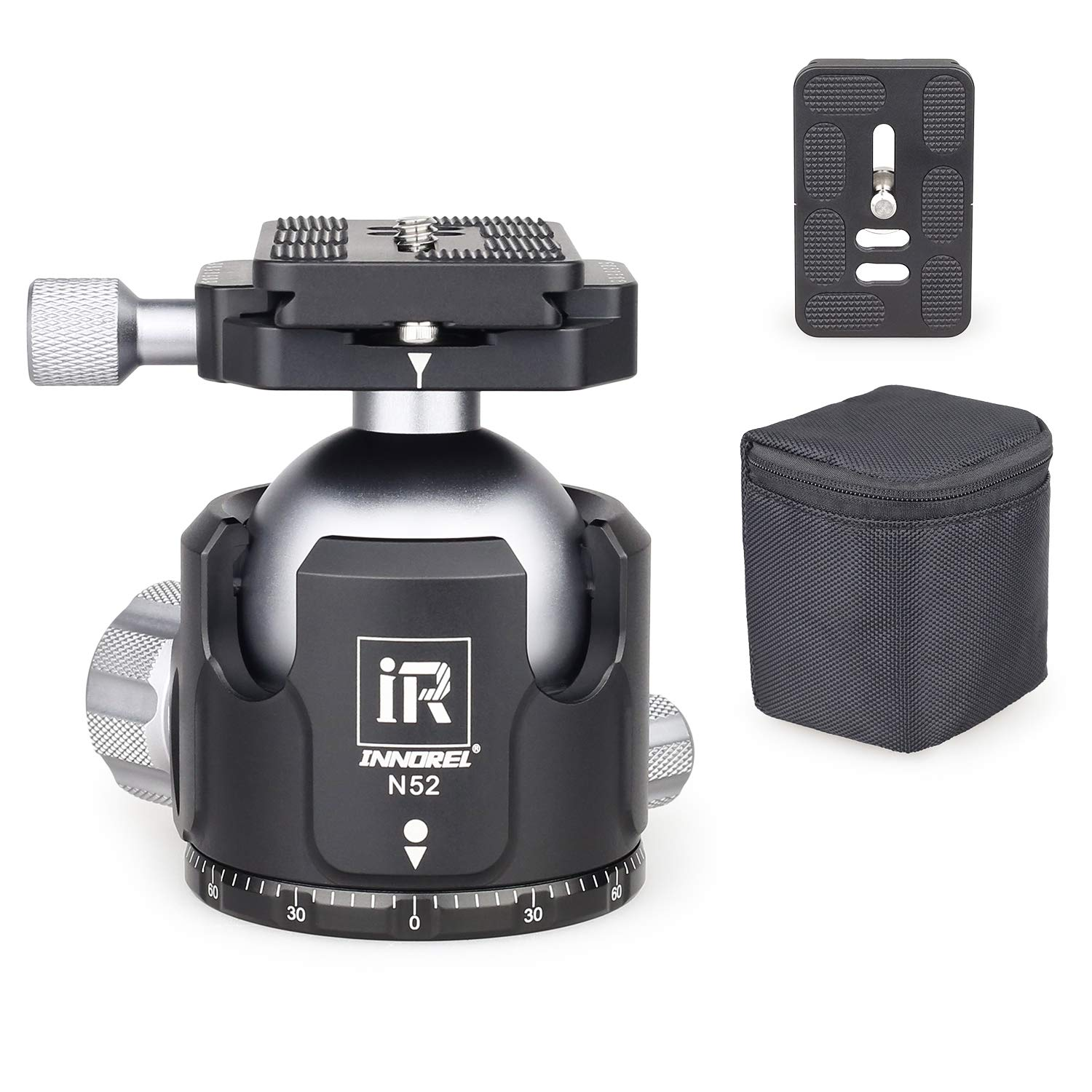 Low Profile Ball Head Metal Tripod Ball Head 52MM Ball Diameter INNOREL N52 Panoramic CNC Ball Heads Camera Mount with Two 1/4'' Quick Release Plates for Tripod, DSLR, Camcorder, Max Load 66lbs/30kg by INNOREL