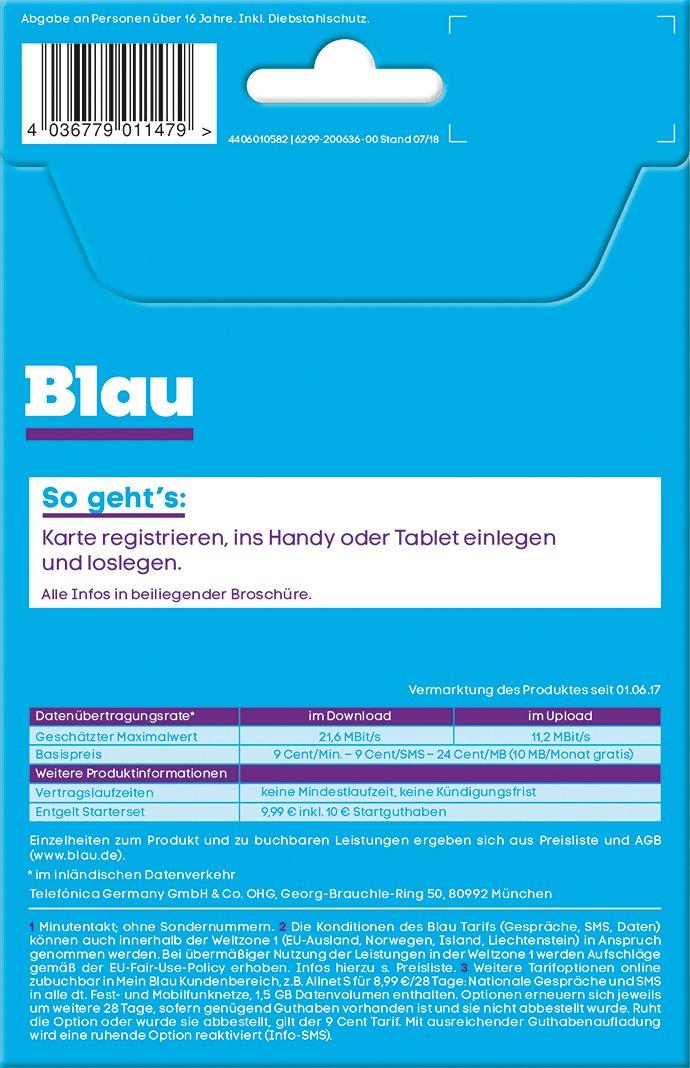 Blau Sim Karte Freischalten.Blau 9 Cent Ohne Vertragslaufzeit 10 Mb Amazon De Elektronik