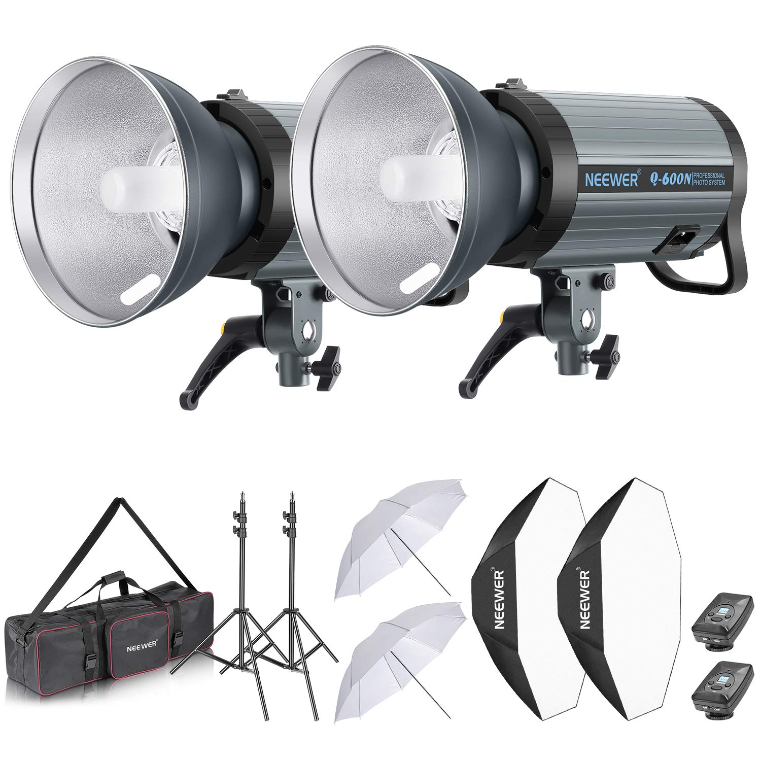 Neewer 1200W Studio Strobe Flash Photography Lighting Kit:(2) 600W Monolight with 2.4G Wireless Trigger,(2) Lampshade,(2) Softbox,(2) Umbrella,(2) Light Stand,(1) Bag for Shooting Bowens Mount(Q600N) by Neewer