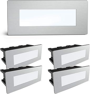 SSC-LUXon® - Juego de 5 luces LED para escalera Piko-S de acero inoxidable cepillado, para escalones y tacones en exteriores (230 V, 1,5 W, luz blanca cálida): Amazon.es: Iluminación