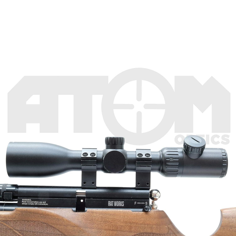 Atom Optics 4-16x44 Alcance Del Rifle Rojo y Verde Iluminado Ret/ículo /& Mounts Laterales Focus Mira