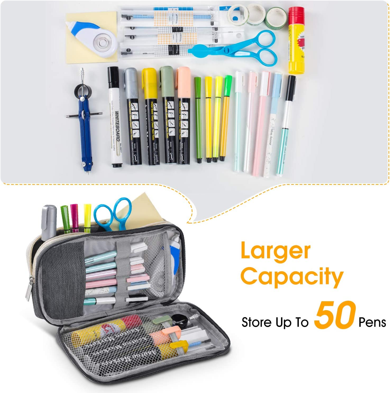 Gray Zipper Large Storage Pens Pouch Bag for Student Office College Middle School High School Puroma Pencil Case with 2 Compartments
