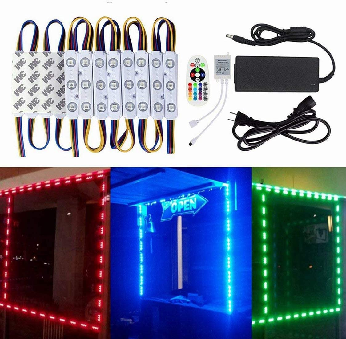 Remote US 20/'ft 5050SMD 3 LED Module Lights STORE FRONT Window Sign Lamp Power