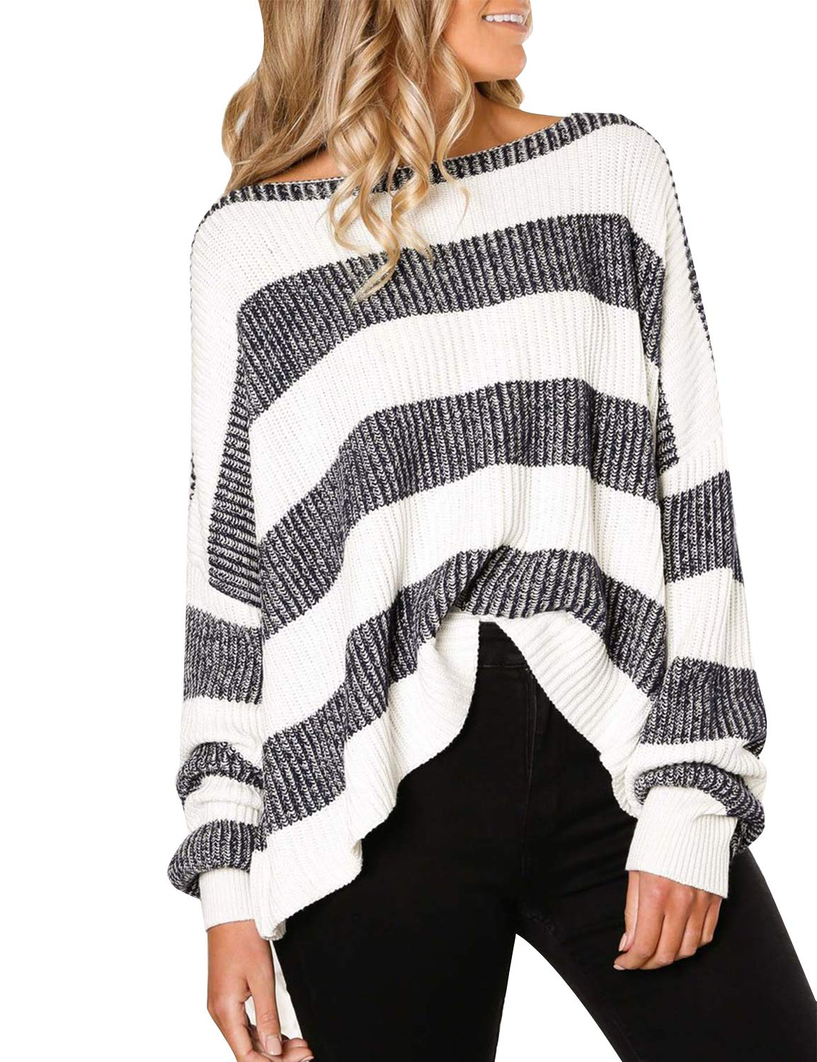 BMJL Women's Off The Shoulder Top Long Sleeve Loose Sweater Striped Oversized Pullover Blue
