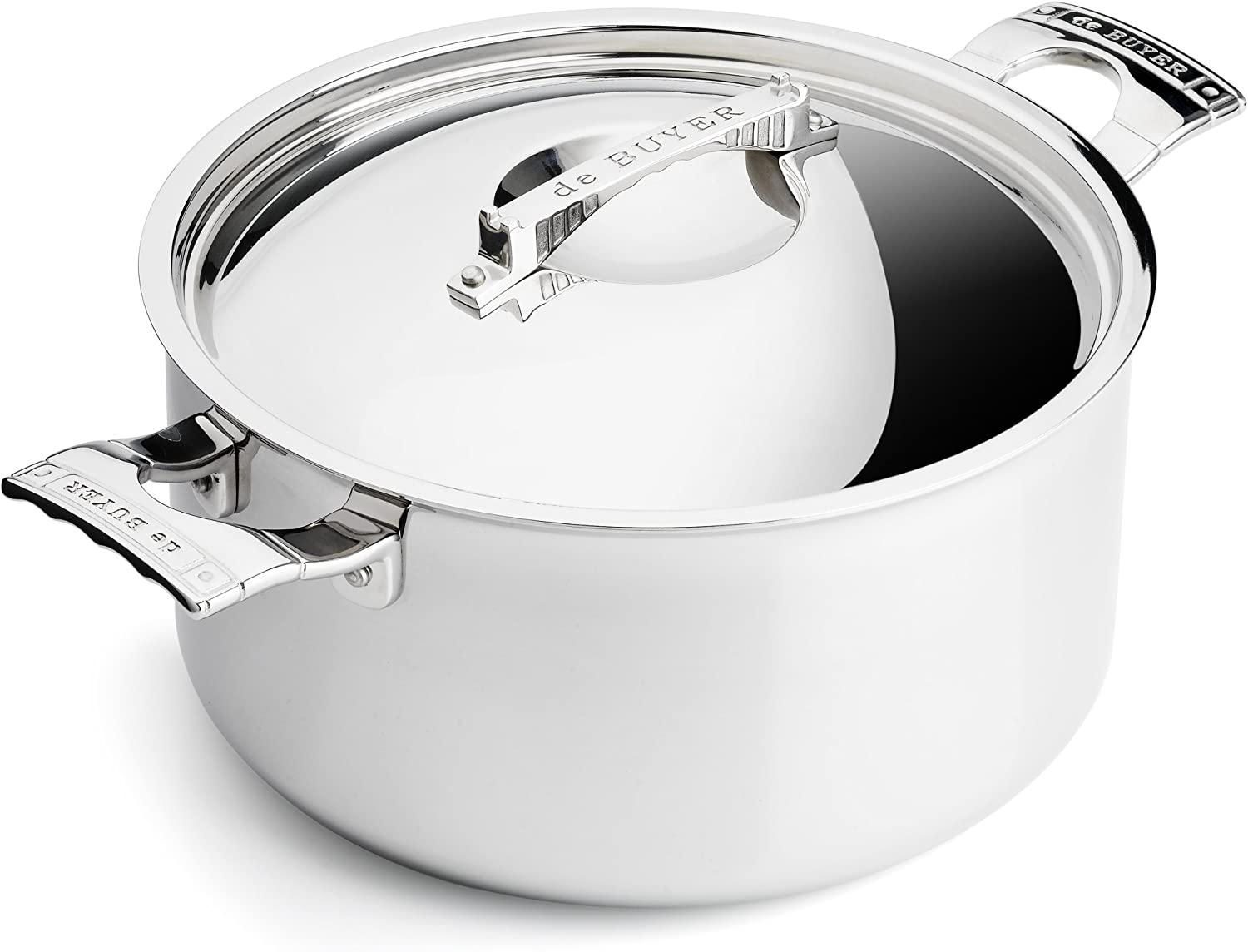 Silver Stainless Steel DE BUYER Stewpan with Lid 35.99 x 33.81 x 15.19 cm 24 cm