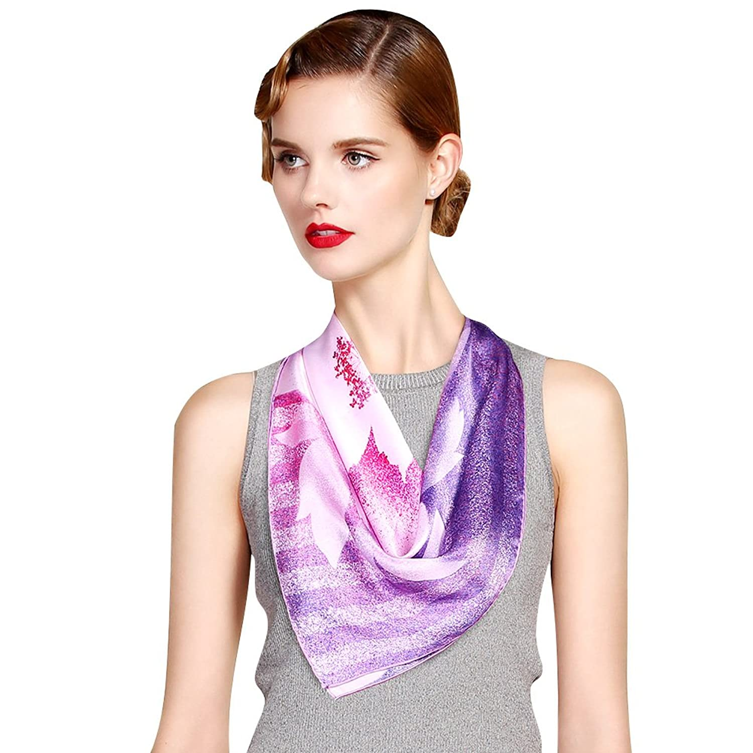 Lean In Women's Flower Pattern Printing Chiffon Square Silk Scarf (2 Designs)