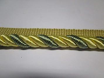 "12 1//2 yards CORD W//LIP 7//16/"" YELLOW//BLUE Decorative Cording Fabric Trim Z26"