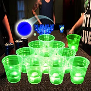 Glow in The Dark Beverage Pong Set for Indoor Outdoor Nighttime Competitive Fun,22 Glowing Cups(11 Green &11 Blue), 4 Glowing Balls & 2 LED Pongs(1 Green & 1 Blue)- Party Game