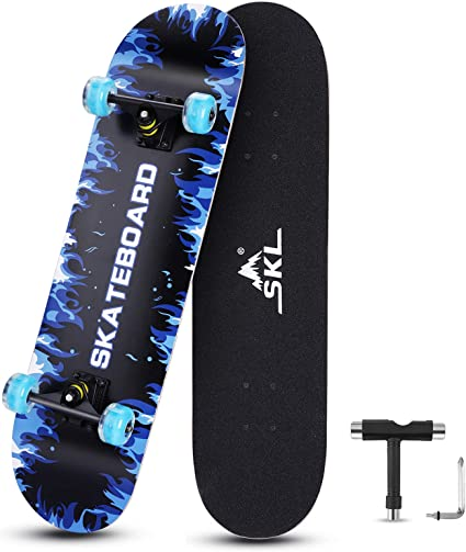 SKL Skateboard 31 x 8 Complete Skateboard with Colorful LED Light Up Wheels for Kids Boys Girls Youths Beginners Adults 9 Layers Canadian Maple Wood Deck Standard Skate Boards