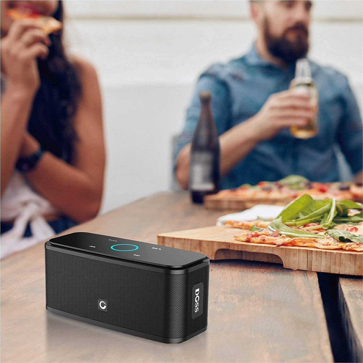 TV-Black Portable Wireless Speaker Compatible with Phone Tablet Bluetooth Speakers Built-in Mic 12H Playtime DOSS SoundBox Touch Wireless Bluetooth V4.0 Portable Speaker with HD Sound and Bass