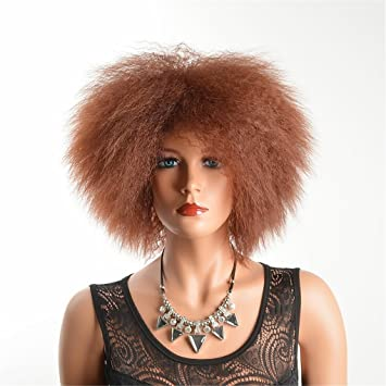TTHJY Pelucas Sintéticas Rizado Corte A Capas Pelo Sintético Fiesta Negro Marrón Peluca Mujer Corta Sin
