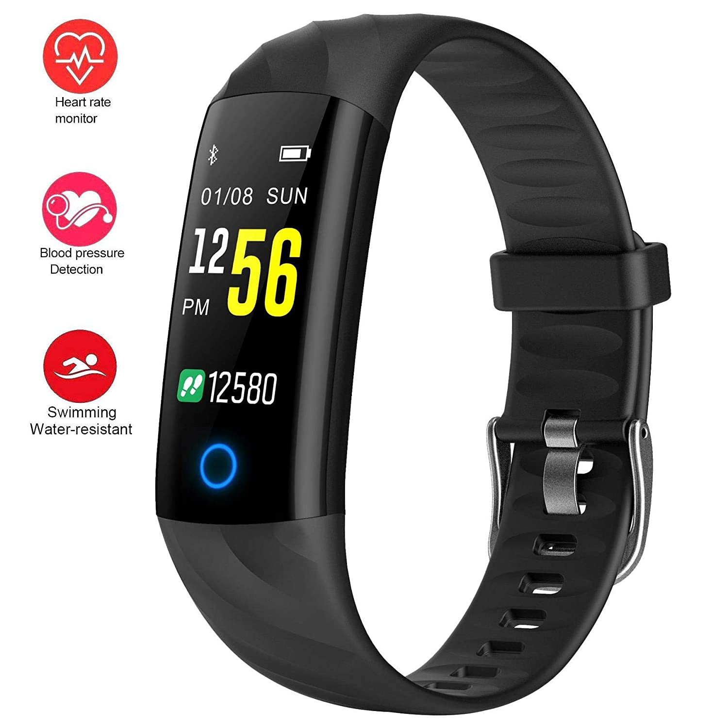 Fitness Trackers,Heart Rate Monitor Smartwatch with Aerobic Exercise Indicator,120 Feet Waterproof Pedometer Calorie Counter Smart Sport ...