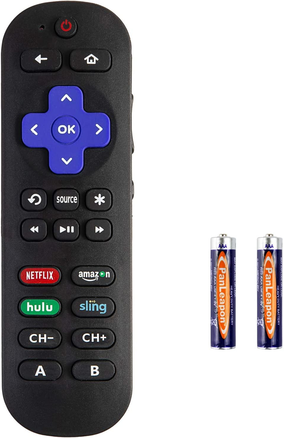 Universal Remote Control for Roku Player with 9 More Learning Keys to Control TV Soundbar Receiver All in One (fit for Roku 1 2 3 4Premier +Express Ultra, NOT FOR STICK &BUILY -IN ROKU TV )