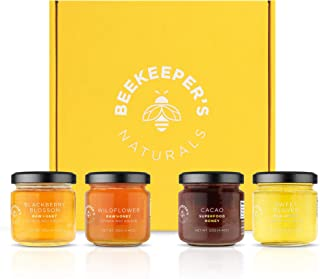 product image for BEEKEEPER'S NATURALS 100% Raw Honey Sampler Gift Box- Eco-Friendly, Non-Toxic, Non-GMO, Gluten-Free, Palm-Oil Free, Vegan, Sustainable - Paleo & Keto Friendly (Set of 4 Glass Jars)