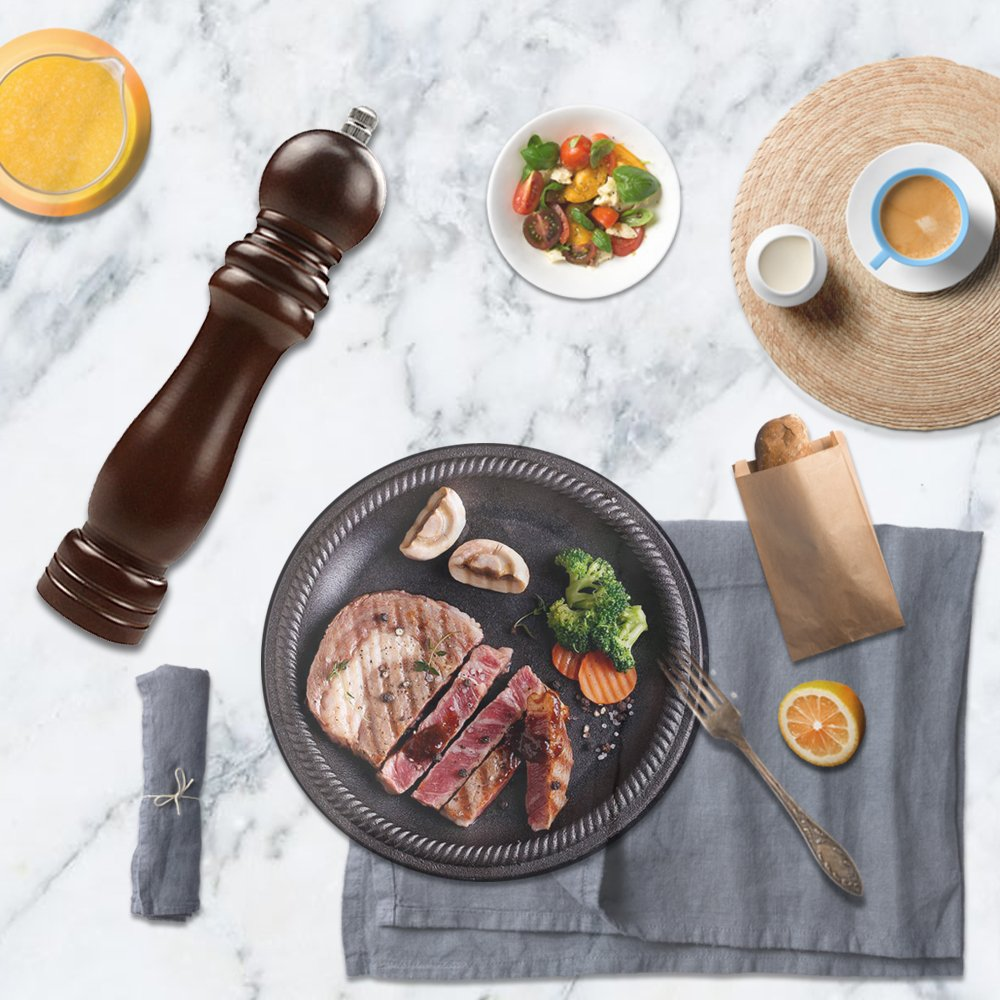 FUNUANBANG Wood Salt Seed Spice Pepper Grinder for Kitchen Hotel Picnic - Brown Wooden 9'' - ceramic grinder