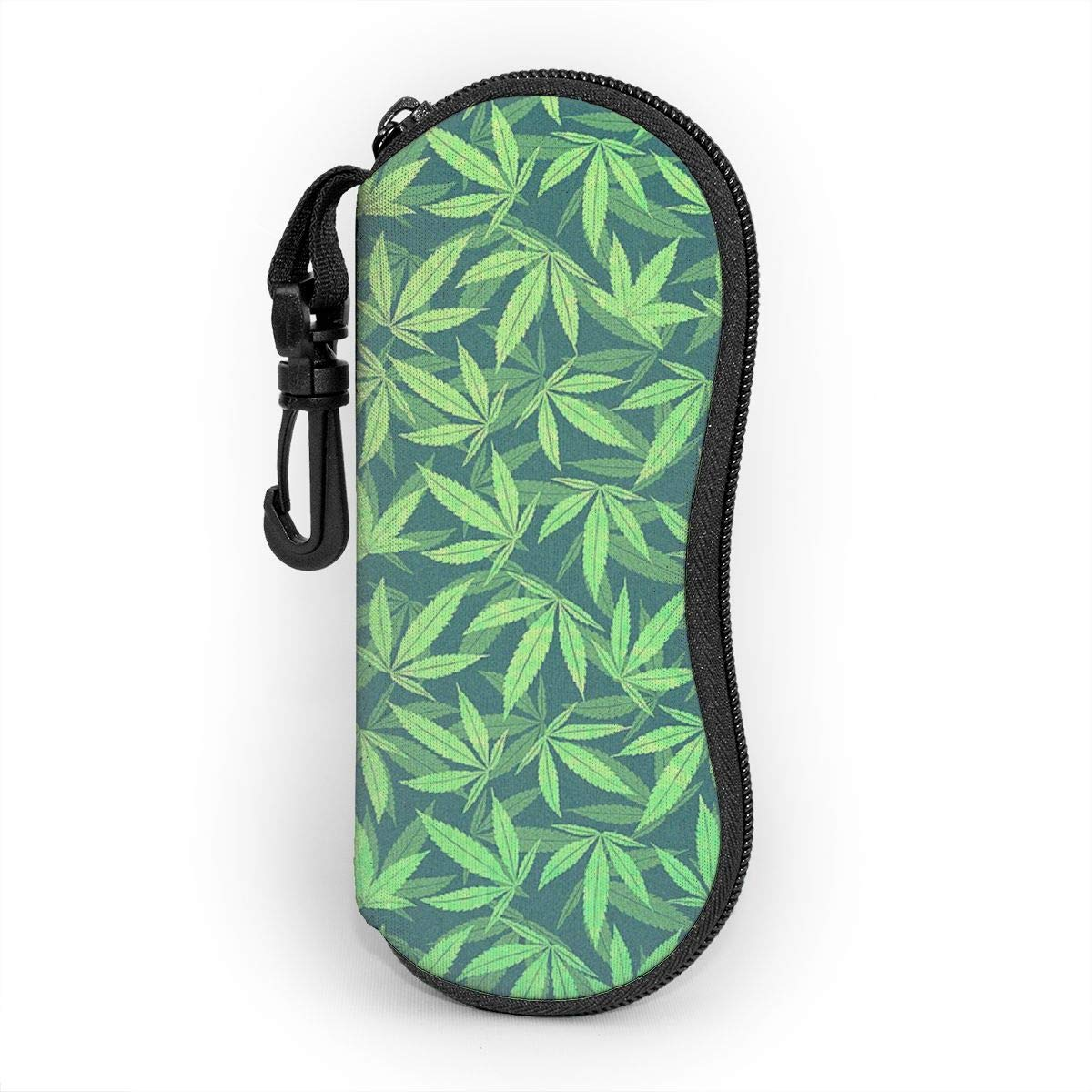 -cannabis-hemp-420-marijuana-pattern-philipp-rietz (1) Glasses Case Soft Case Ultra Light Portable Neoprene Zipper With Carabiner