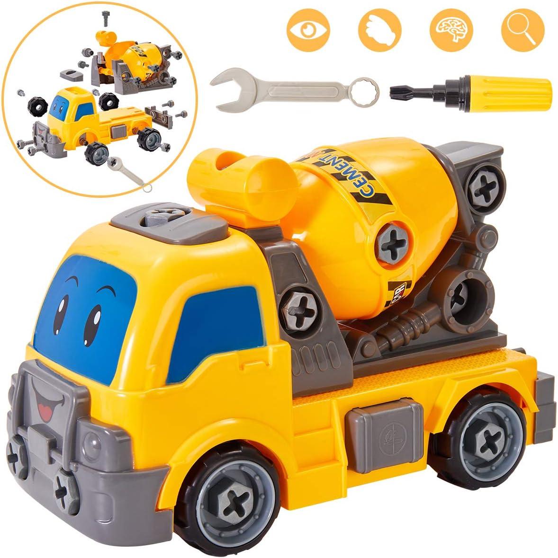 Buyger Camión Construccion Coches Juguete Desmontar y Ensamblarde Fricción Camión con Bricolaje Herramientas para Niño Bebés Infantil 3 4 5 Años