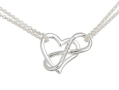 ee20c4984786 925 plata collar con colgante corazón y símbolo de infinito collar 42 cm  cadena (ajustable