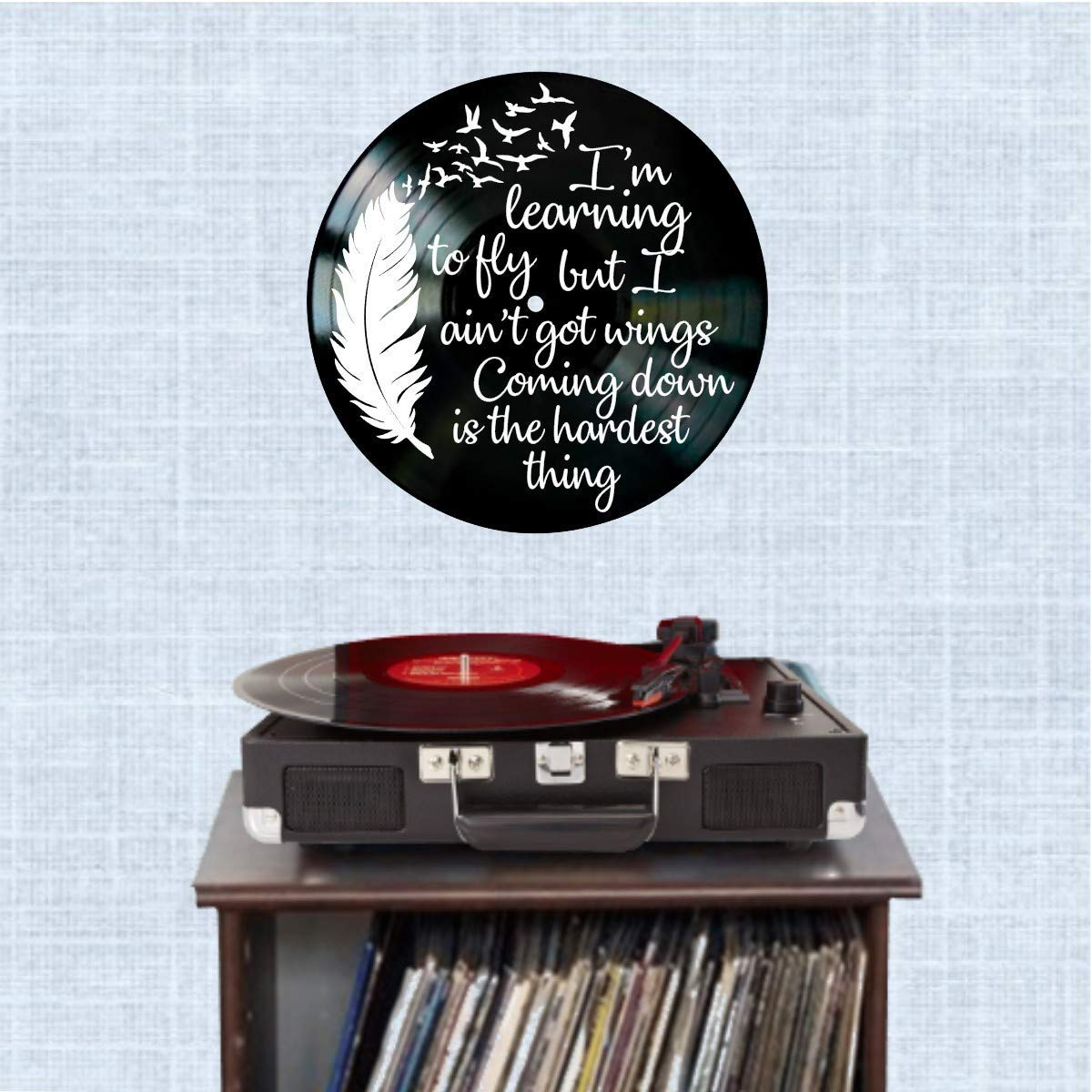 Learning to Fly song lyric art//inspired by Tom Petty//Vinyl Record Album Wall Decor