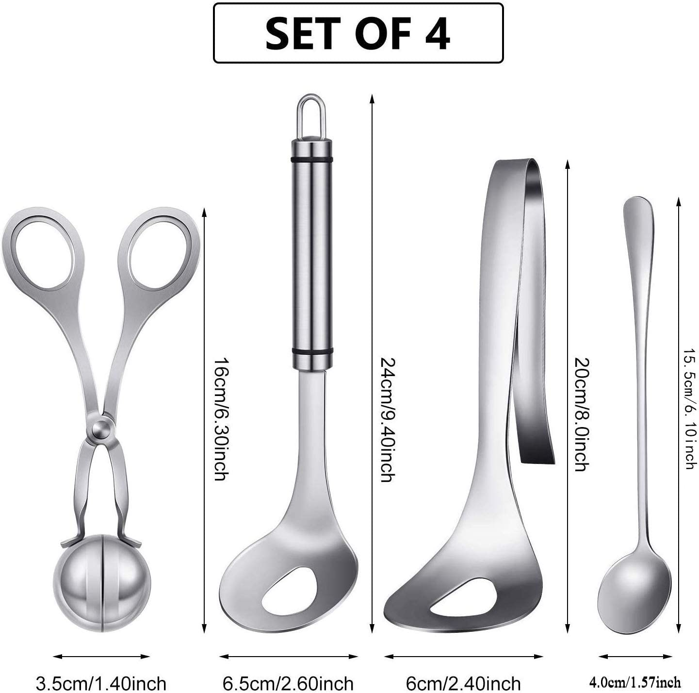 Stainless Steel Kitchen Utensils Comes with A Spoon Ice Cream Spoon 4PS Meatball Maker Nonstick Meat Soup Spoon Meatball Maker Tool