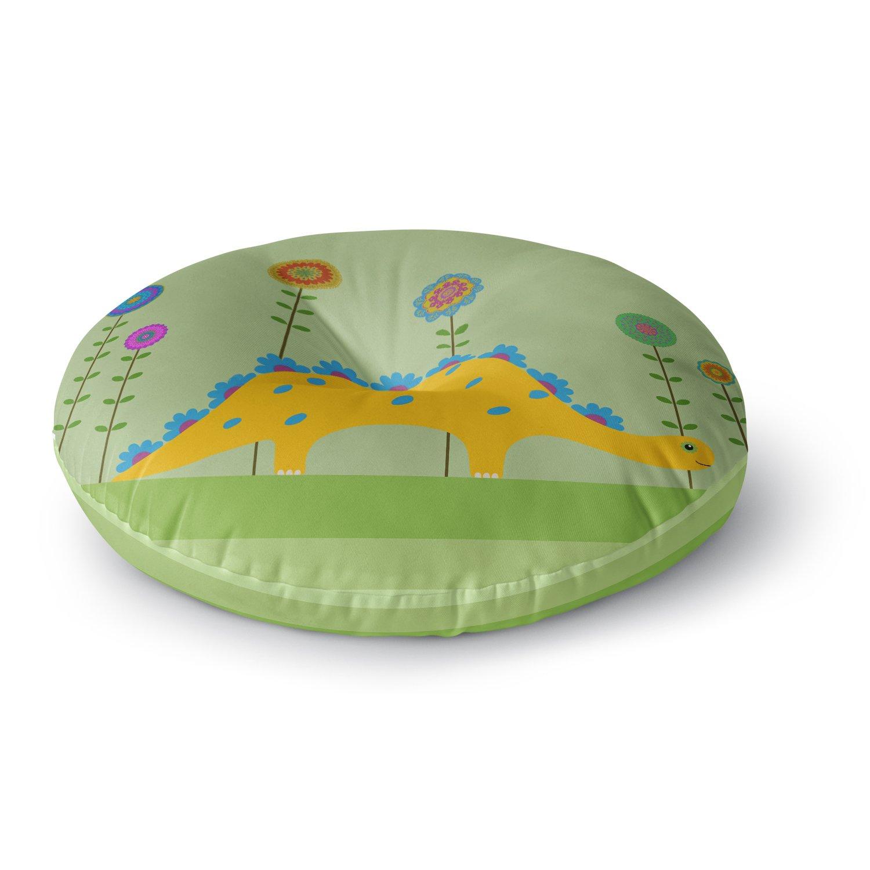 KESS InHouse Cristina Bianco Design Cute Dinosaur Green Yellow Illustration Round Floor Pillow