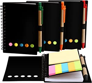 TOODOO 4 Packs Spiral Notebook Lined Notepad with Pen in Holder and Sticky Notes, Page Marker Colored Index Tabs Flags (Black Cover)