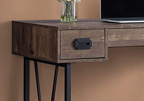 Monarch Specialties Laptop Table with Drawers-Industrial Style-Metal Legs Computer Desk Home Office, 48 L, Brown Reclaimed Wood Look