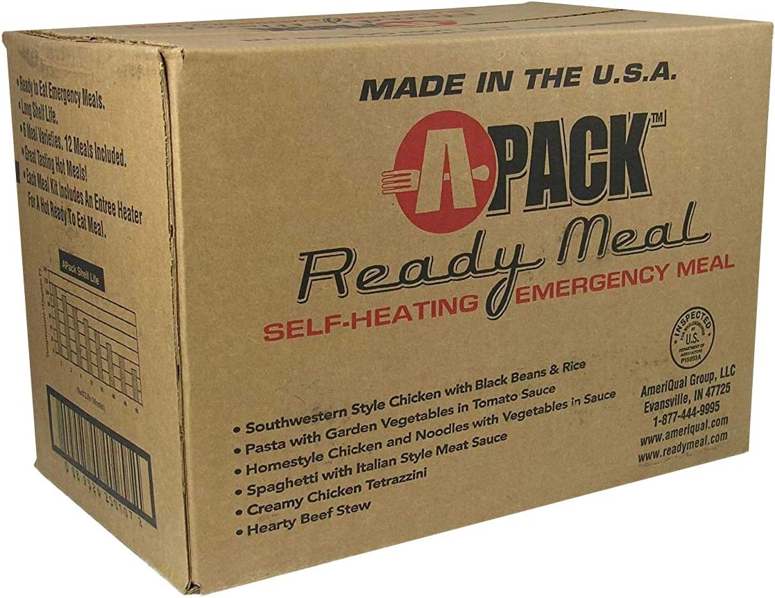 A-PACK Ready Meal 12 MRE Kit - 12 voll Meals REDUCED SODIUM - Sealed