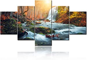 """5 Pcs Canvas Wall Art - Beautiful Waterfall at Mountain River in Colorful Autumn Forest with Red and Orange Leaves at Sunset. Nature Landscape Picture- Canvas Art Wall Decor Ready to Hang -60""""W x 32""""H"""