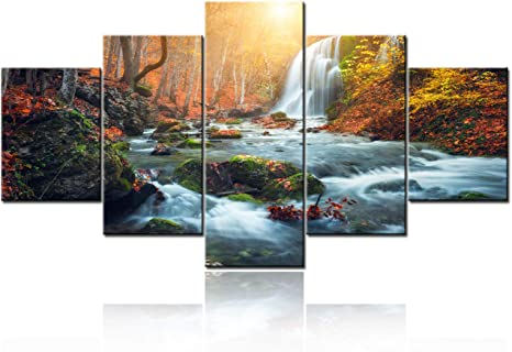 Amazon Com 5 Pcs Canvas Wall Art Beautiful Waterfall At Mountain River In Colorful Autumn Forest With Red And Orange Leaves At Sunset Nature Landscape Picture Canvas Art Wall Decor Ready To