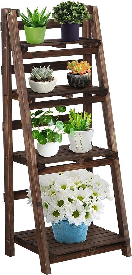 Wooden Ladder Shelf 3//4 Tier Folding Bookcase Home Plant Pot Flower Display Unit