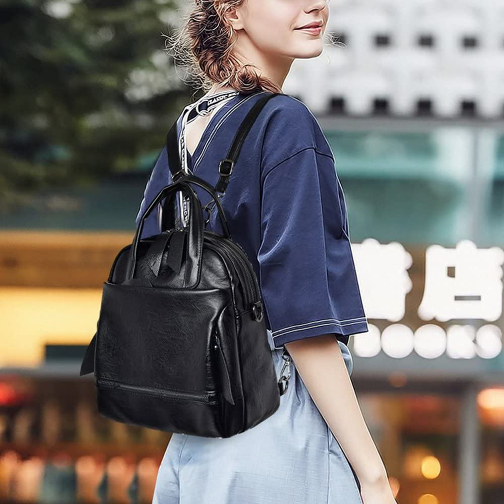 Black Alovhad Women Pu Leather Backpack Purse Fashion Dayapack Large Casual Travel ShoulderBag