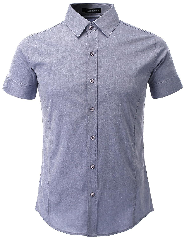 Flatseven Mens Slim Fit Basic Dress Shirts Short Sleeve At Amazon