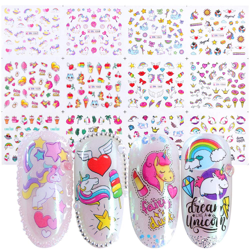 Unicorn Nail Art Stickers for Girls 12 Sheets Cute Nail Beauty Supplies Decals Unicorns Stars Moons Cherries Flamingos Rainbows Design for Nails DIY Decorations Manicure Tips Kids Birthday Gifts
