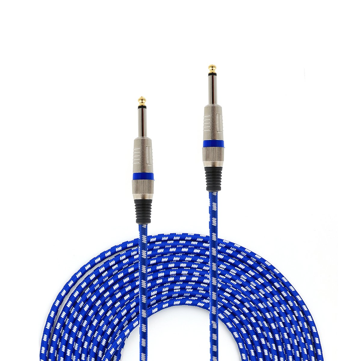 MAXTOMARS Guitar Cable, Tweed Woven Jacket, 20 feet (Blue)