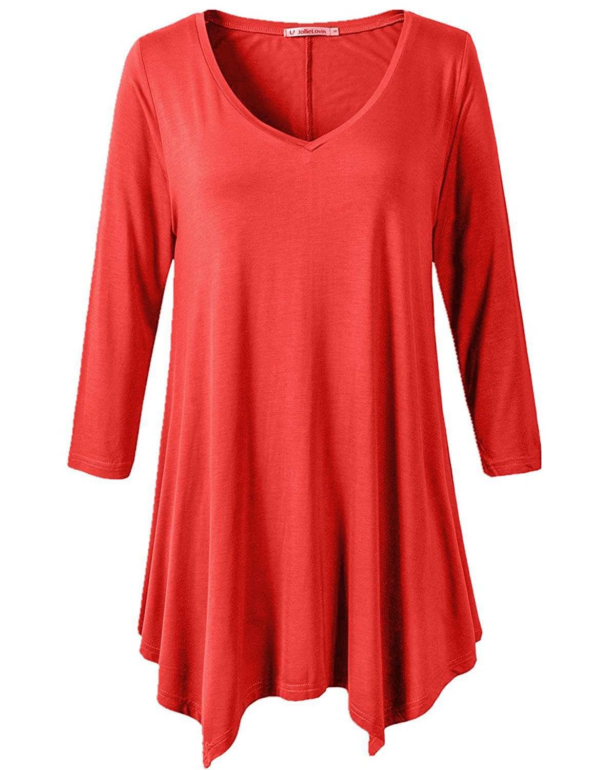 JollieLovin Womens Plus Size 3/4 Sleeve Loose-fit T Shirt for Leggings Tunic Top (Red, 1X)