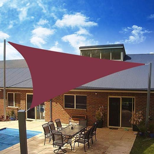 Yeahmart SHADE Toldo Vela de Sombra Triangular 3.6 x 3.6 x 3.6m, protección Rayos 98% UV y HDPE Transpirable para Patio, Exteriores, Jardín, Color Rojo: Amazon.es: Jardín