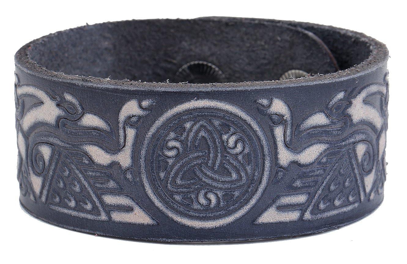 Gragon Triquetra Celtic Knot Symbol Wristband Leather Bracelet