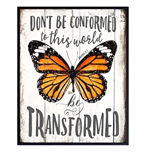 Motivational Butterfly Wall Art Poster - 8x10 Rustic Home Decor, Decoration for Bedroom, Bathroom, Office, Living Room - Inspirational Cute Gift for Women, Woman, Teen Girls - UNFRAMED Picture Print