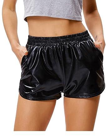 7aee9df0f0 Amazon.com: Kate Kasin Women's Yoga Hot Shorts Shiny Metallic Pants ...