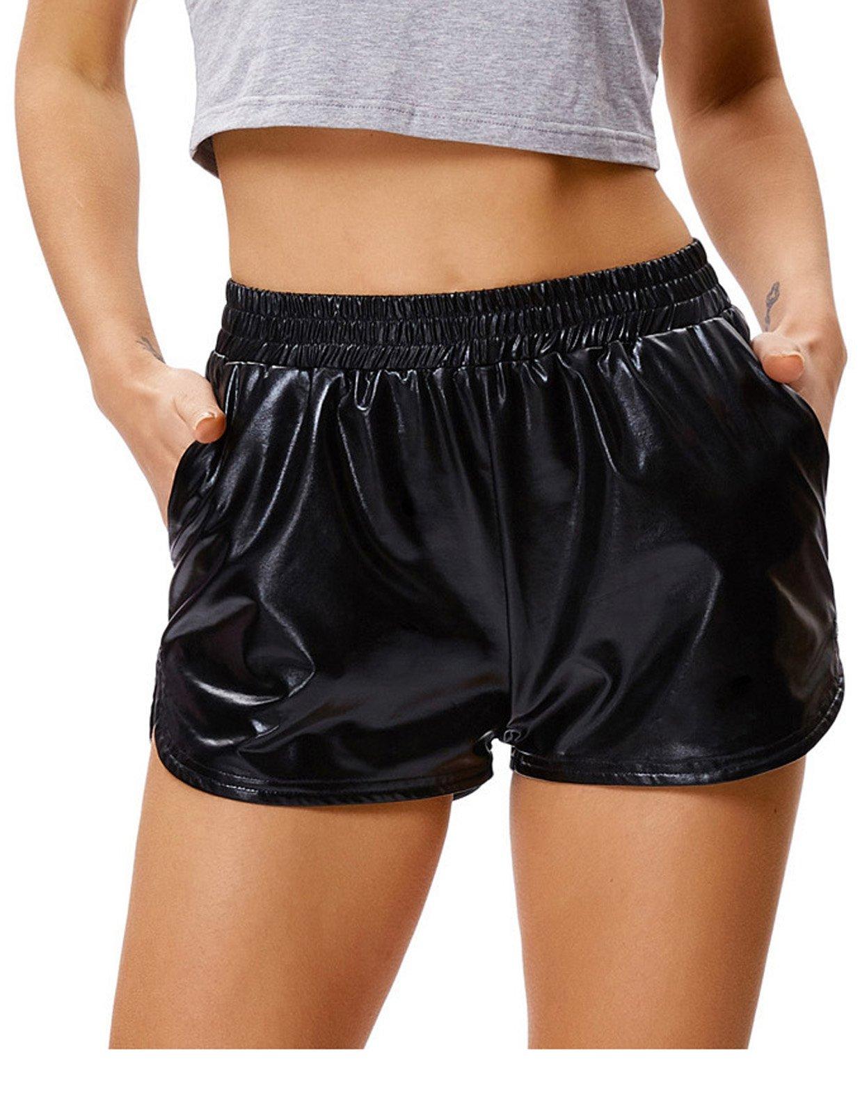 Kate Kasin Sexy Shiny Metallic Yoga Shorts for Women Casual (XL,Black)