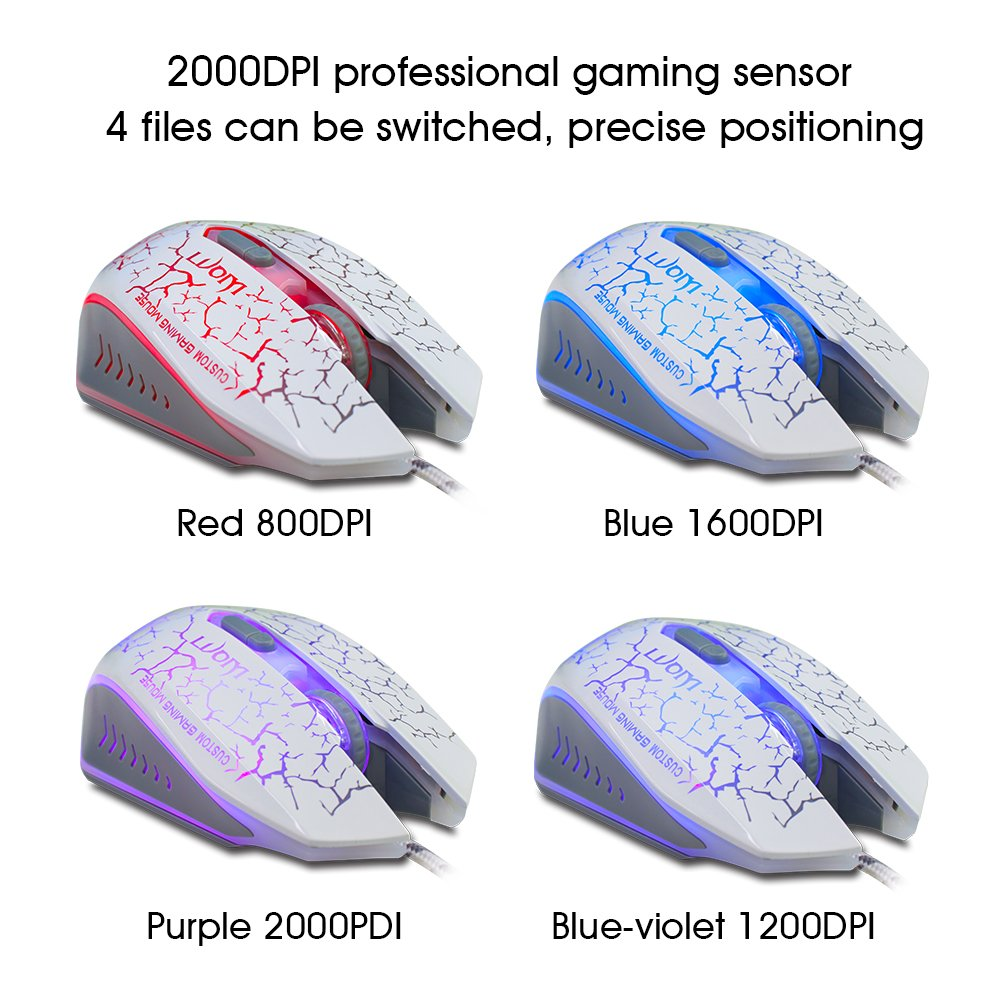 Gaming Mouse,YCCTEAM Ergonomic USB Wired Gaming Mouse Mice with 2000DPI Adjustable High Precision 7 Button LED Optical for Laptop PC Computer Gamer -White