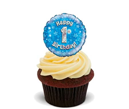 Made4you Happy 1st Birthday Boy Edible Cake Decorations Blue