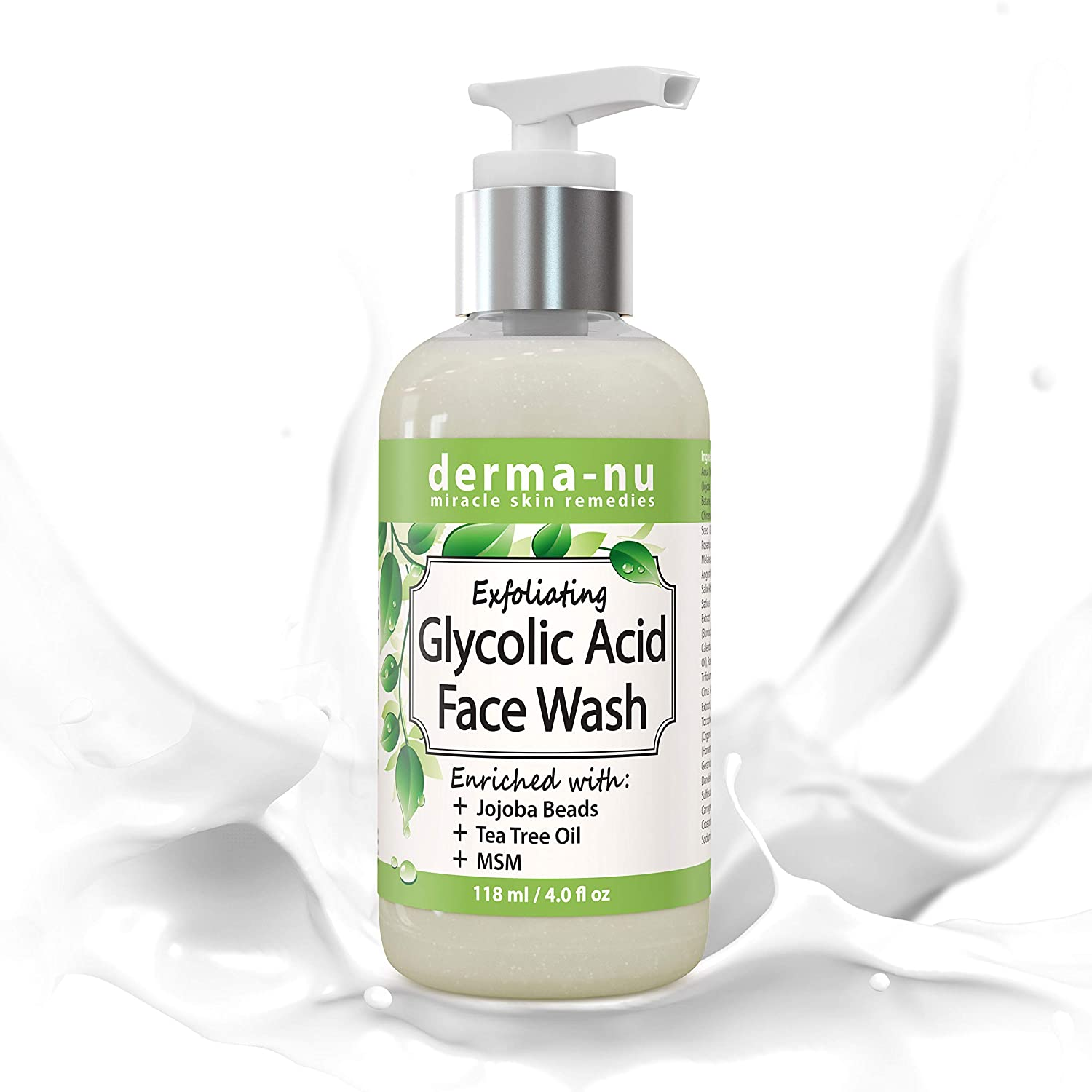 Glycolic Acid Exfoliating Face Wash - Natural & Organic Cleanser - Anti-Aging And Effective Against Acne Fine Lines, pimples and Blemishes - Suitable For Sensitive Skin